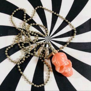 Vintage peach plastic skull metal bead necklace